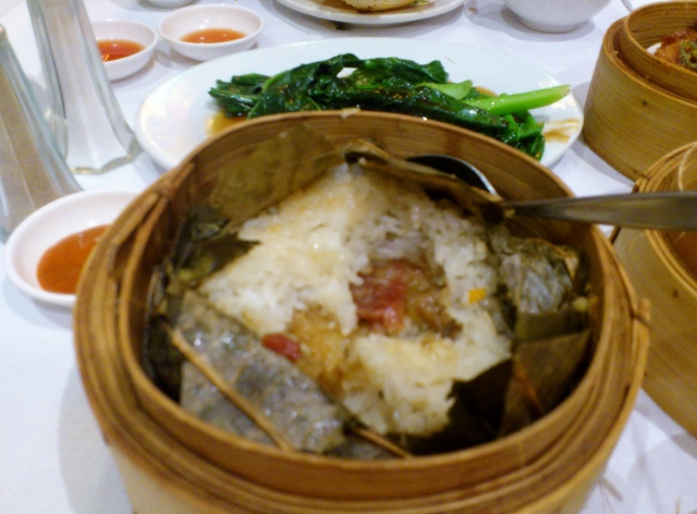 Sticky rice in lotus leaf (deluxe $5.40)